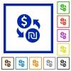 Dollar new Shekel money exchange flat framed icons - Dollar new Shekel money exchange flat color icons in square frames on white background