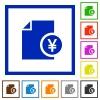 Yen financial report flat framed icons - Yen financial report flat color icons in square frames on white background