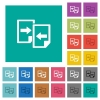 Share documents square flat multi colored icons - Share documents multi colored flat icons on plain square backgrounds. Included white and darker icon variations for hover or active effects.