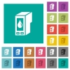 Ink cartridge square flat multi colored icons - Ink cartridge multi colored flat icons on plain square backgrounds. Included white and darker icon variations for hover or active effects.