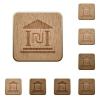 Israeli new Shekel bank office wooden buttons - Israeli new Shekel bank office on rounded square carved wooden button styles