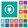 Rolled power cord square flat multi colored icons - Rolled power cord multi colored flat icons on plain square backgrounds. Included white and darker icon variations for hover or active effects.