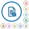 Document options icons with shadows and outlines - Document options flat color vector icons with shadows in round outlines on white background