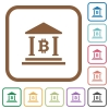 Bitcoin bank office simple icons - Bitcoin bank office simple icons in color rounded square frames on white background