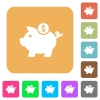 Dollar piggy bank rounded square flat icons - Dollar piggy bank flat icons on rounded square vivid color backgrounds.