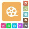 Movie roll rounded square flat icons - Movie roll flat icons on rounded square vivid color backgrounds.