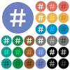 Hash tag round flat multi colored icons - Hash tag multi colored flat icons on round backgrounds. Included white, light and dark icon variations for hover and active status effects, and bonus shades on black backgounds.