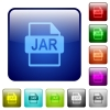 JAR file format color square buttons - JAR file format icons in rounded square color glossy button set