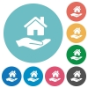 Home insurance flat round icons - Home insurance flat white icons on round color backgrounds