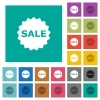 Sale badge square flat multi colored icons - Sale badge multi colored flat icons on plain square backgrounds. Included white and darker icon variations for hover or active effects.