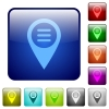 GPS map location options color square buttons - GPS map location options icons in rounded square color glossy button set