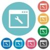 Application maintenance flat round icons - Application maintenance flat white icons on round color backgrounds