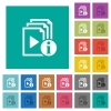 Playlist information square flat multi colored icons - Playlist information multi colored flat icons on plain square backgrounds. Included white and darker icon variations for hover or active effects.