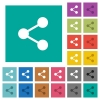 Share square flat multi colored icons - Share multi colored flat icons on plain square backgrounds. Included white and darker icon variations for hover or active effects.