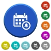 Calendar alarm beveled buttons - Calendar alarm round color beveled buttons with smooth surfaces and flat white icons