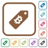 Bitcoin price label simple icons - Bitcoin price label simple icons in color rounded square frames on white background