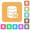 Database save rounded square flat icons - Database save flat icons on rounded square vivid color backgrounds.