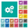 Gears square flat multi colored icons - Gears multi colored flat icons on plain square backgrounds. Included white and darker icon variations for hover or active effects.