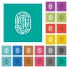 Fingerprint square flat multi colored icons - Fingerprint multi colored flat icons on plain square backgrounds. Included white and darker icon variations for hover or active effects.