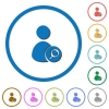 Search user icons with shadows and outlines - Search user flat color vector icons with shadows in round outlines on white background