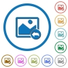 Undo image changes icons with shadows and outlines - Undo image changes flat color vector icons with shadows in round outlines on white background
