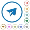 Paper plane icons with shadows and outlines - Paper plane flat color vector icons with shadows in round outlines on white background
