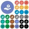 Rupee earnings round flat multi colored icons - Rupee earnings multi colored flat icons on round backgrounds. Included white, light and dark icon variations for hover and active status effects, and bonus shades on black backgounds.