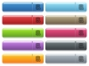 Database statistics icons on color glossy, rectangular menu button - Database statistics engraved style icons on long, rectangular, glossy color menu buttons. Available copyspaces for menu captions.