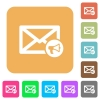Mail reading aloud rounded square flat icons - Mail reading aloud flat icons on rounded square vivid color backgrounds.