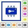Hardware security flat framed icons - Hardware security flat color icons in square frames on white background