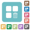 Delete component rounded square flat icons - Delete component white flat icons on color rounded square backgrounds