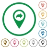 Forward GPS map location flat icons with outlines - Forward GPS map location flat color icons in round outlines on white background