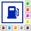 Gas station flat framed icons - Gas station flat color icons in square frames on white background
