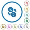 Pound Shekel money exchange icons with shadows and outlines - Pound Shekel money exchange flat color vector icons with shadows in round outlines on white background
