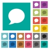 Blog comment bubble square flat multi colored icons - Blog comment bubble multi colored flat icons on plain square backgrounds. Included white and darker icon variations for hover or active effects.