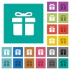 Gift box square flat multi colored icons - Gift box multi colored flat icons on plain square backgrounds. Included white and darker icon variations for hover or active effects.