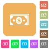 Dollar banknotes rounded square flat icons - Dollar banknotes flat icons on rounded square vivid color backgrounds.