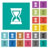 Hourglass square flat multi colored icons - Hourglass multi colored flat icons on plain square backgrounds. Included white and darker icon variations for hover or active effects.