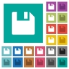 Save data square flat multi colored icons - Save data multi colored flat icons on plain square backgrounds. Included white and darker icon variations for hover or active effects.
