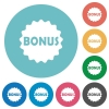 Bonus sticker flat round icons - Bonus sticker flat white icons on round color backgrounds