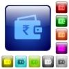 Indian Rupee wallet color square buttons - Indian Rupee wallet icons in rounded square color glossy button set