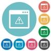 Application warning flat round icons - Application warning flat white icons on round color backgrounds