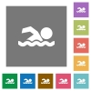 Swimming man square flat icons - Swimming man flat icons on simple color square backgrounds