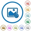 Cloud image flat color vector icons with shadows in round outlines on white background - Cloud image icons with shadows and outlines