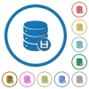 Database save icons with shadows and outlines - Database save flat color vector icons with shadows in round outlines on white background