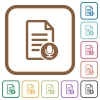 Voice document simple icons - Voice document simple icons in color rounded square frames on white background