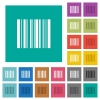 Barcode square flat multi colored icons - Barcode multi colored flat icons on plain square backgrounds. Included white and darker icon variations for hover or active effects.