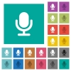 Microphone square flat multi colored icons - Microphone multi colored flat icons on plain square backgrounds. Included white and darker icon variations for hover or active effects.