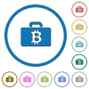 Bitcoin bag icons with shadows and outlines - Bitcoin bag flat color vector icons with shadows in round outlines on white background