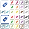Ruble price label outlined flat color icons - Ruble price label color flat icons in rounded square frames. Thin and thick versions included.